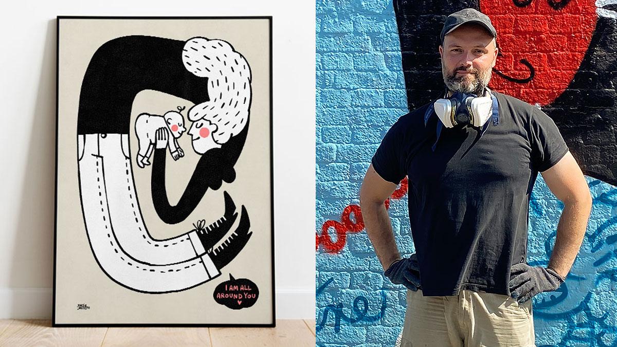 Martin Jørgensen kunstplakat for Mødrehjælpen og Irma